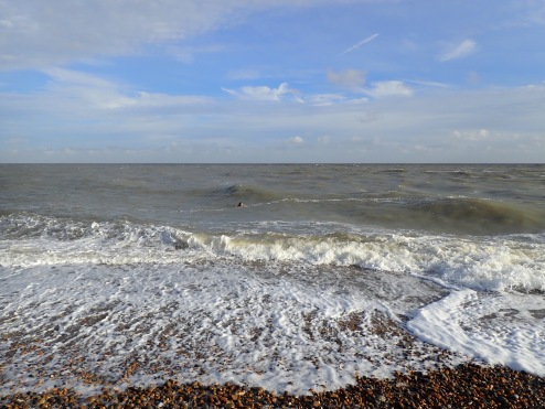 Emily Hasler in the sea at Aldeburgh